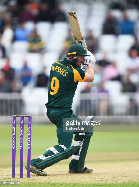 Riki Wessels of Nottingham plays the cover drive while batting during the Royal London OneDay Cup match between Nottinghamshire Outlaws and Kent...