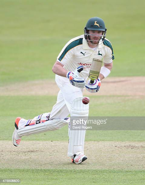 Riki Wessels of Nottinghamshire drives the ball during the LV County Championship match between Nottinghamshire and Sussex at Trent Bridge on June 1...
