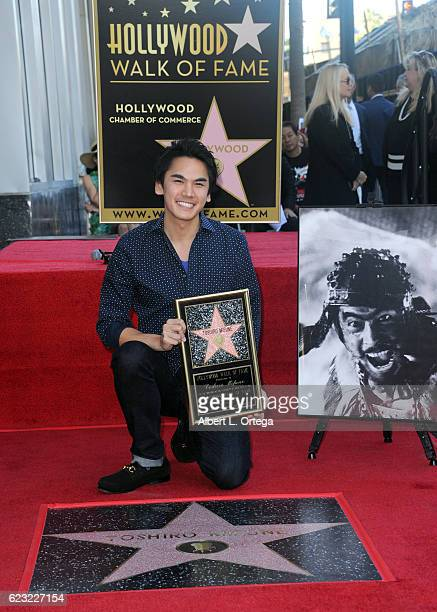 Rikiya Mifune accepts Toshiro Mifune's posthumous star on the Hollywood Walk Of Fame on November 14 2016 in Hollywood California