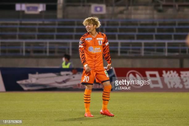 Rikiya MOTEGI of Ehime FC celebrates scoring his side's third goal during the J.League Meiji Yasuda J2 match between Ehime FC and Matsumoto Yamaga at...