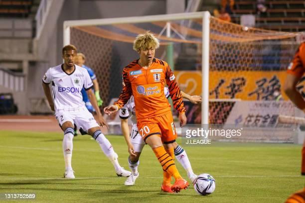 Rikiya MOTEGI of Ehime FC in action during the J.League Meiji Yasuda J2 match between Ehime FC and Matsumoto Yamaga at Ningineer Stadium on April 21,...