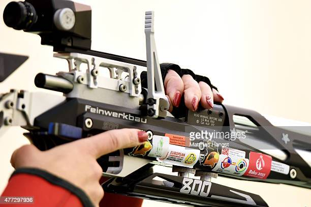 Rikke Maeng of Denmark reloads in the Women's 10m Air Rifle during day four of the Baku 2015 European Games at Baku Shooting Centre on June 16 2015...