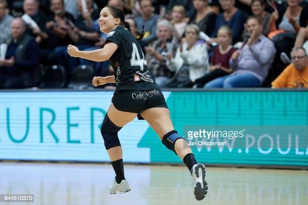 Rikke Schou Ebbesen of Copenhagen Handball celebrate after goal during the Danish HTH Go Ligaen match between Copenhagen Handball and Silkeborg Voel...
