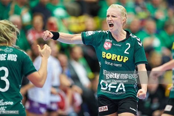 Rikke Skov of Viborg HK celebrate after goal during the Santander Cup Finale Damer match between Viborg HK and FC Midtjylland in Jysk Arena on...