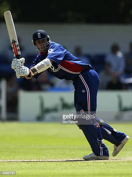 Rikki Clarke of England hits out during the NatWest One Day friendly match between Wales and England on June 14, 2003 at Sophia Gardens Cricket...