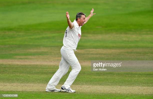 Rikki Clarke of Surrey appeals for the wicket of Tom Banton of Somerset during day two of the Specsavers County Championship Division One match...