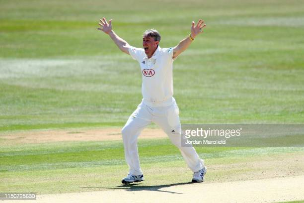 Rikki Clarke of Surrey appeals unsuccessfully during day two of the Specsavers County Championship Division One match between Kent and Surrey on May...