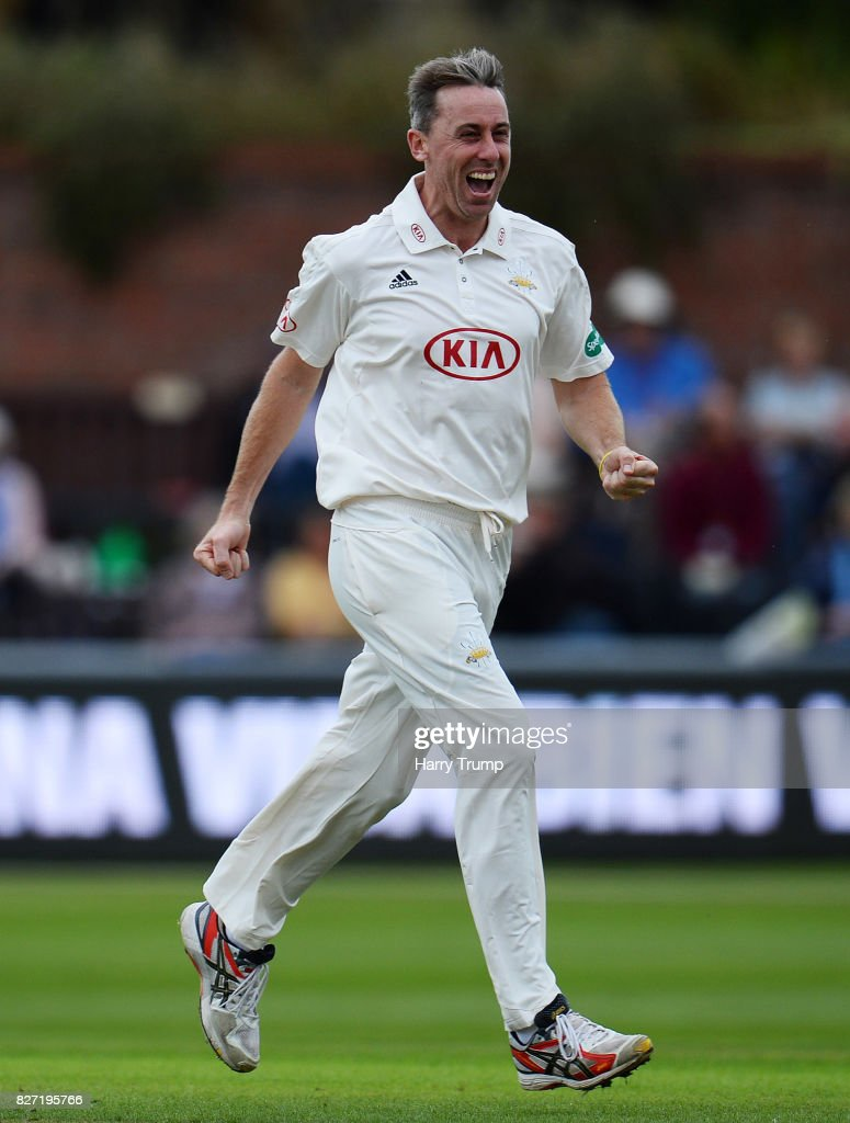 Rikki Clarke of Surrey celebrates after dismissing James Hildreth of Somerset during the Specsavers County Championship Division One match between Somerset and Surrey at The Cooper Associates County Ground on August 7, 2017 in Taunton, England.