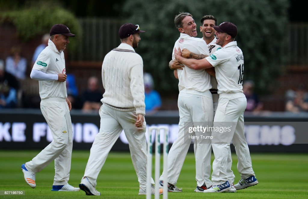 Rikki Clarke of Surrey(C) celebrates after dismissing Tim Rouse of Somerset during the Specsavers County Championship Division One match between Somerset and Surrey at The Cooper Associates County Ground on August 7, 2017 in Taunton, England.
