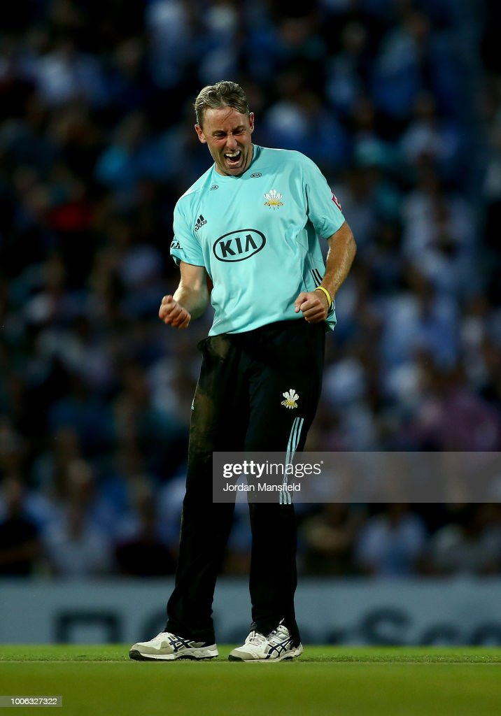 Rikki Clarke of Surrey celebrates dismissing Corey Anderson of Somerset during the Vitality Blast match between Surrey and Somerset at The Kia Oval on July 27, 2018 in London, England.