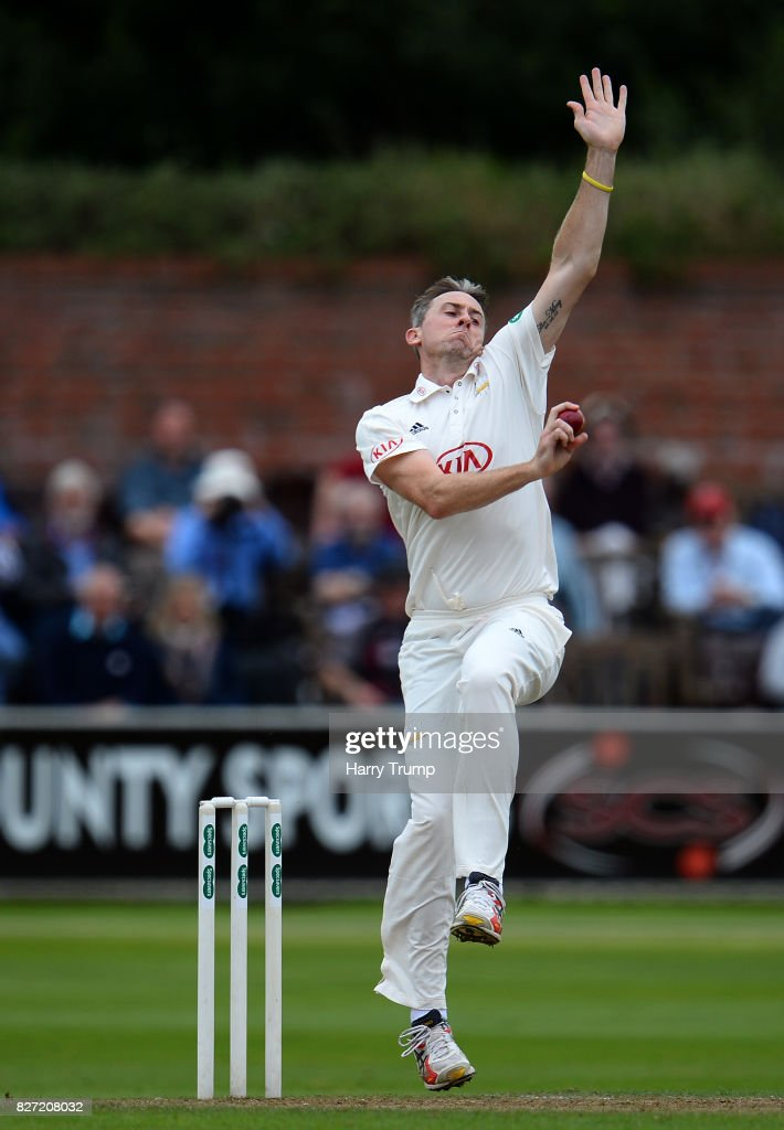 Rikki Clarke of Surrey during the Specsavers County Championship Division One match between Somerset and Surrey at The Cooper Associates County Ground on August 7, 2017 in Taunton, England.