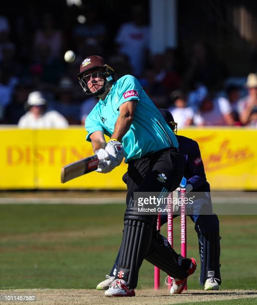 Rikki Clarke of Surrey hits the ball for six runs during the Vitality Blast T20 match between Essex Eagles and Surrey at The Cloud FM Cricket Ground...