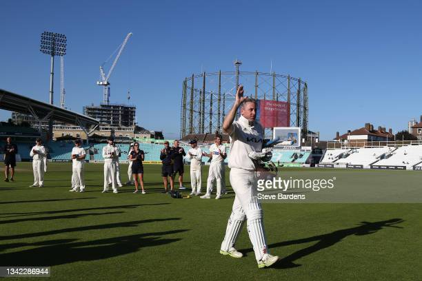 Rikki Clarke of Surrey leaves the field after his final appearance on day four during the LV= Insurance County Championship match between Surrey and...