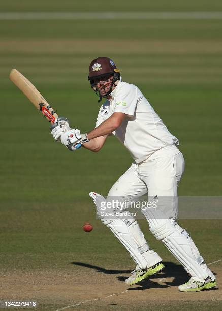 Rikki Clarke of Surrey plays a shot in his final appearance on day four during the LV= Insurance County Championship match between Surrey and...