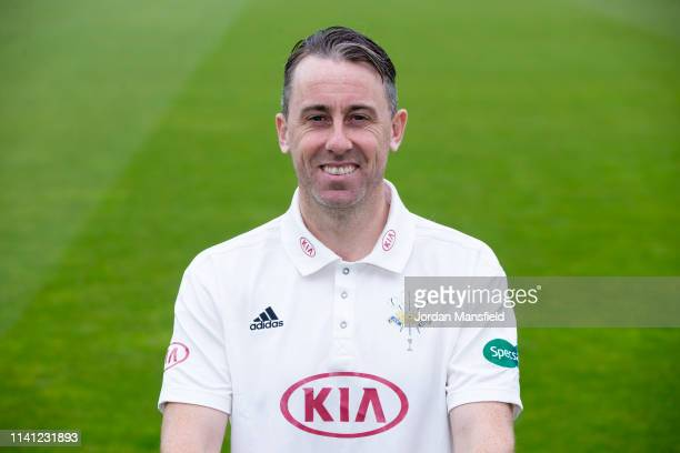 Rikki Clarke of Surrey poses for a photo during a training session at The Kia Oval on April 08, 2019 in London, England.