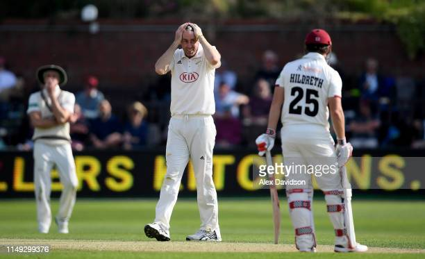 Rikki Clarke of Surrey reacts to a chance during Day Two of the Specsavers County Championship match between Somerset and Surrey at at The Cooper...