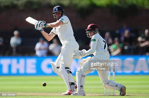 Rikki Clarke of Warwickshire bats during Day Three of the Specsavers County Championship Division One match between Somerset and Warwickshire at The...