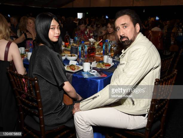 Riko Shibata and Nicolas Cage attend the 2020 Film Independent Spirit Awards on February 08, 2020 in Santa Monica, California.