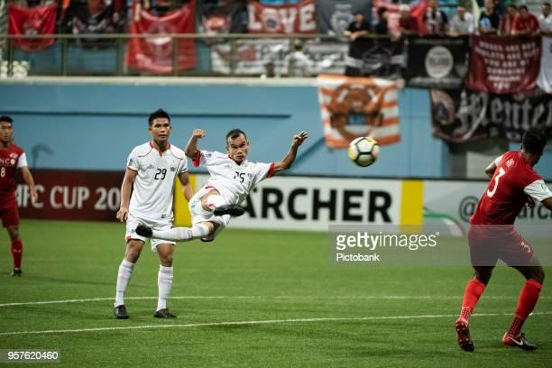 Riko Simanjuntak of Persija Jakarta executes a scissors kick during the AFC Cup Zonal Semi final between Home United and Persija Jakarta at Jalan...