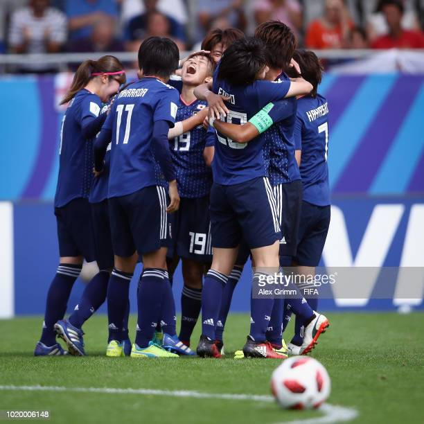 Referee Claudia Umpierrez reacts during the FIFA U20 Women's World Cup France 2018 Semi Final semi final match between England and Japan at Stade de...