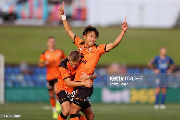 Riku Danzaki of the Roar celebrates his goal during the A-League match between the Newcastle Jets and the Brisbane Roar at McDonald Jones Stadium, on...
