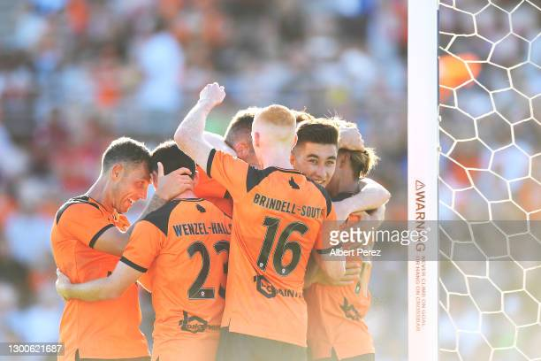 Riku Danzaki of the Roar celebrates scoring a goal during the A-League match between the Brisbane Roar and the Melbourne Victory at Dolphin Stadium,...