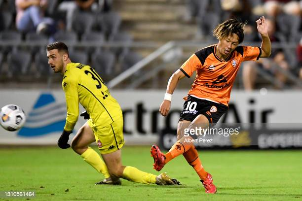 Riku Danzaki of the Roar scores a goal during the A-League match between the Brisbane Roar FC and Western Sydney Wanderers FC at Moreton Daily...