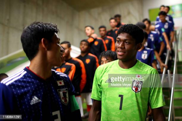 Riku Handa of Japan and Zion Suzuki talk in the tunnel before the Group D Match between Japan and Netherlands in the FIF U-17 World Cup Brazil 2019...