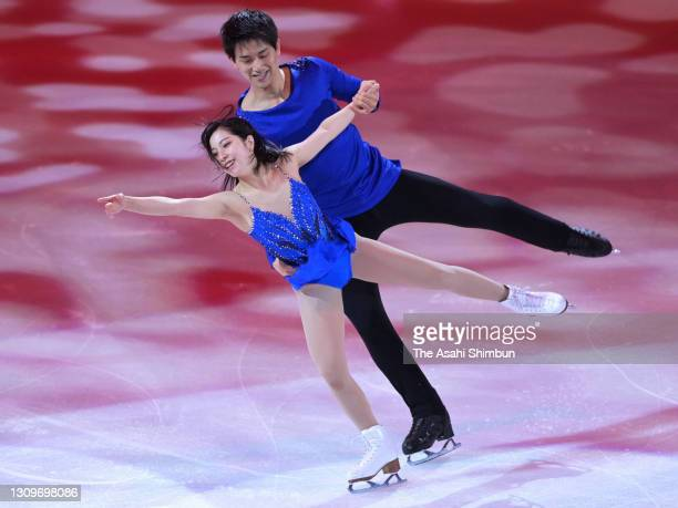 Riku Miura and Ryuichi Kihara of Japan perform during the Gala Exhibition on day five of the ISU World Figure Skating Championships at Ericsson Globe...