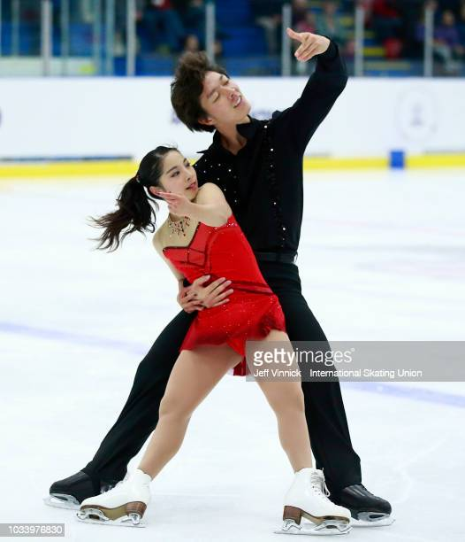 Riku Miura and Shoya Ichihashi of Japan perform during their junior pairs final skate at the 2018 Junior Grand Prix of Figure Skating on September 15...