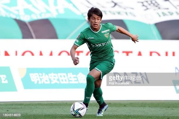 Rikuto Hashimoto of Tokyo Verdy in action during the J.League Meiji Yasuda J2 match between Tokyo Verdy and Ehime FC at Ajinomoto Stadium on February...