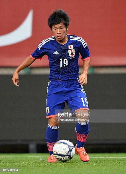 Rikuto Katsura of Japan runs with the ball during the friendly match between Thailand U16 and Japan U15 at Leo Stadium on July 23 2015 in Bangkok...