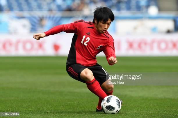 Rikuto Katsura of U18 Jleague XI in action during the Next Generation match between U18 Jleague XI and Japan High School XI prior to the Xerox Super...