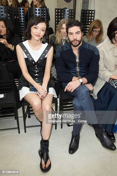 Rila Fukushima and Tahar Rahim attend the Louis Vuitton show as part of the Paris Fashion Week Womenswear Spring/Summer 2017on October 5 2016 in...