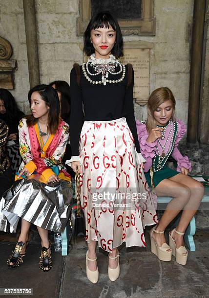 Rila Fukushima attends the Gucci Cruise 2017 fashion show at the Cloisters of Westminster Abbey on June 2 2016 in London England