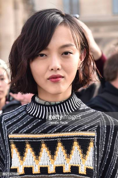 Rila Fukushima is seen arriving at Louis Vuitton show during Paris Fashion Week Womenswear Spring/Summer 2018 on October 3 2017 in Paris France