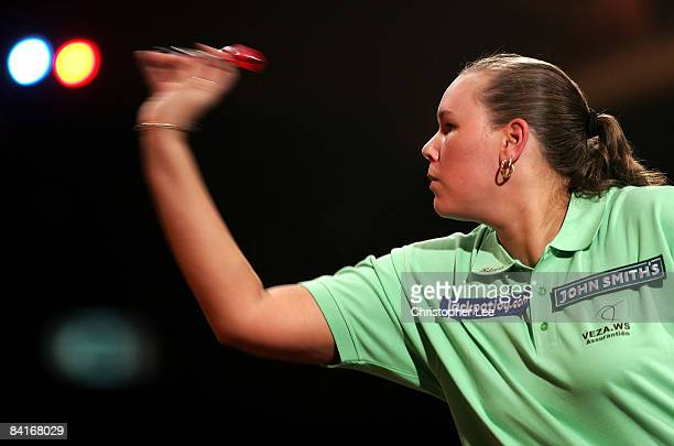 Rilana Erades of Holland in action against Julie Gore of Wales during the Lakeside World Darts Championships 1st Round match at Lakeside on January 4...