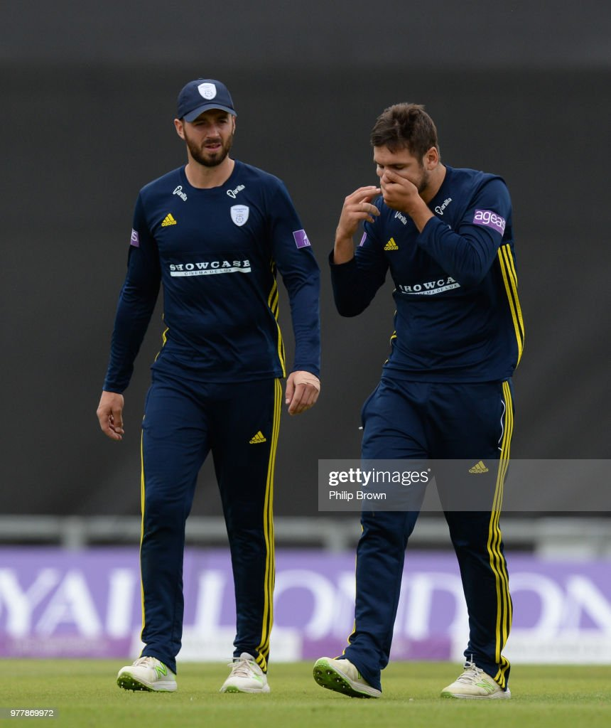 Rilee Rossouw of Hampshire leaves the field injured watched by James Vince during the Royal London One-Day Cup Semi-Final match between Hampshire and Yorkshire Vikings at the Ageas Bowl on June 18, 2018 in Southampton, England.