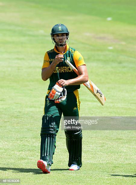 Rilee Rossouw of South Africa during the 1st Momentum ODI between South Africa and West Indies at Sahara Stadium Kingsmead on January 16 2015 in...