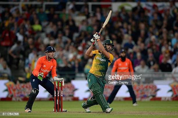Rilee Rossouw of South Africa hits out for six runs during the 1st KFC T20 International match between South Africa and England at Newlands on...