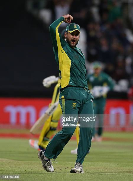 Rilee Rossouw of the Protea celebrates during the Momentum ODI Series 5th ODI match between South Africa and Australia at PPC Newlands on October 12...