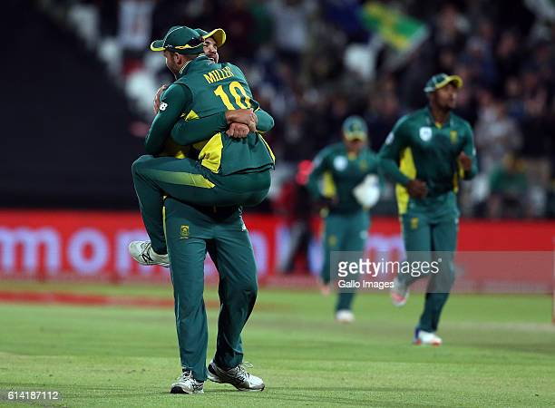 Rilee Rossouw of the Proteas and David Miller celebrates during the Momentum ODI Series 5th ODI match between South Africa and Australia at PPC...