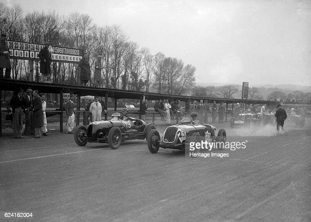Riley and Alta racing at Donington Park Leicestershire c1930s Artist Bill BrunellLeft Riley Event Entry No 19 Right Alta 1074S cc Event Entry No 23...