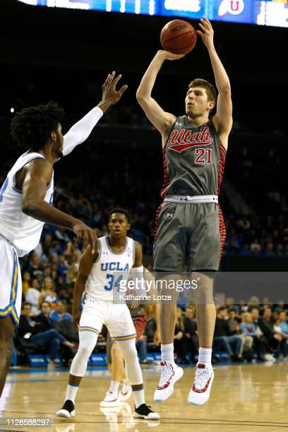 Riley Battin of the Utah Utes goes up for a shot against the UCLA Bruins at Pauley Pavilion on February 09 2019 in Los Angeles California