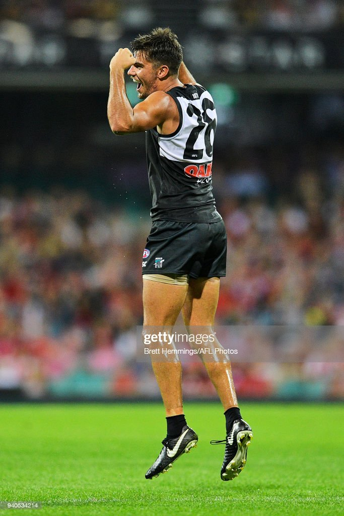 Riley Bonner of the Power celebrates kicking a goal during the round two AFL match between the Sydney Swans and the Port Adelaide Power at the Sydney Cricket Ground on April 1, 2018 in Sydney, Australia.