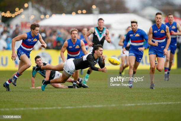Riley Bonner of the Power handballs during the round 19 AFL match between the Western Bulldogs and the Port Adelaide Power at Mars Stadium on July 29...