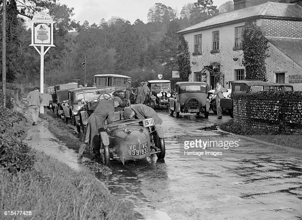 Riley Brooklands outside the Stonor Arms Hotel HenleyonThames InterVarsity Trial 1930 Riley Brooklands 2 seater sports 1929 1089 cc Vehicle Reg No...
