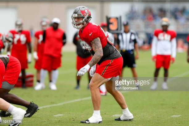Riley Bullough of the Bucs shouts out the defense during the joint training camp work out between the Tampa Bay Buccaneers and the Tennessee Titans...