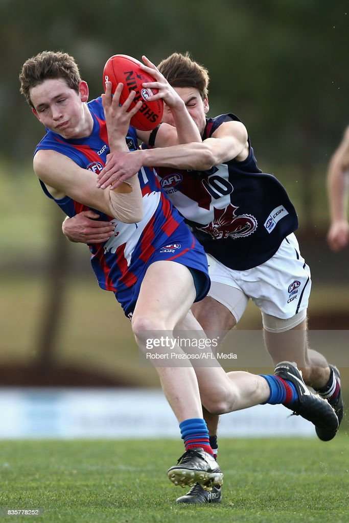Riley Collier-Dawkins of the Oakleigh Chargers is tackled during the TAC Cup round 16 match between the Oakleigh Chargers and the Sandringham Dragons at RAMS Arena on August 19, 2017 in Melbourne, Australia.
