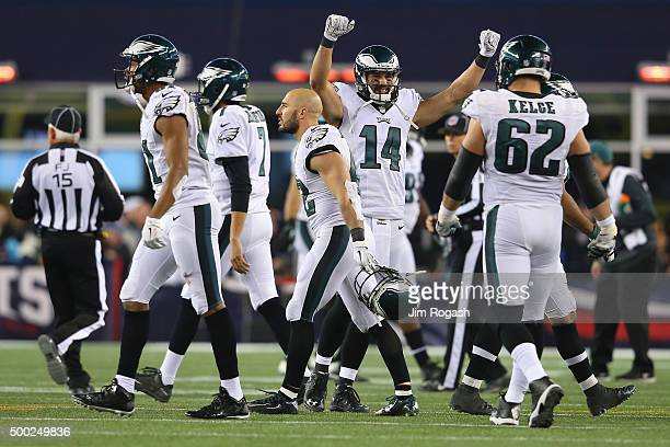 Riley Cooper of the Philadelphia Eagles celebrates with teammates after an incomplete New England Patriots pass leading to a turnover on downs during...